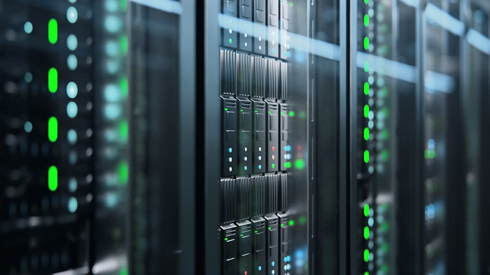 The camera slowly moving in data center showing server equipment with flickering light indicators, close up view. Seamlessly looped photorealistic 3D render animation.