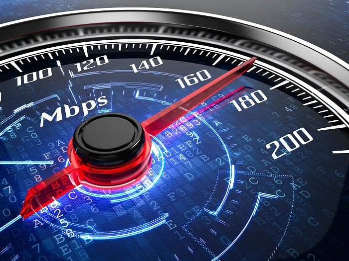 speedtest shows high speed of fiber optic speeds
